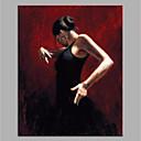 זול אומנות ממוסגרת-ציור שמן צבוע-Hang מצויר ביד - מופשט / אנשים מודרני ללא מסגרת פנימית / בד מגולגל