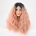 cheap Synthetic Lace Wigs-Synthetic Lace Front Wig Women's Water Wave Pink Synthetic Hair Ombre Hair Pink Wig Mid Length Lace Front Orange