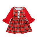 זול שמיכה מכסה עכשווית-שמלה כותנה אביב קיץ שרוול ארוך ליציאה בית הספר אחיד משובץ דמקה טלאים הילדה של פשוט וינטאג' אודם