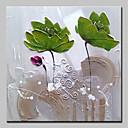 abordables Óleos-Pintura al óleo pintada a colgar Pintada a mano - Abstracto / Floral / Botánico Modern Incluir marco interior / Lona ajustada