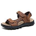 זול סנדלים לגברים-בגדי ריקוד גברים נעליים עור נאפה Leather קיץ / סתיו נוחות סנדלים שחור / חום / חאקי