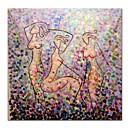 tanie Obrazy: abstrakcja-Hang-Malowane obraz olejny Ręcznie malowane - Abstrakcja Nowoczesne / Nowoczesny Płótno / Rozciągnięte płótno