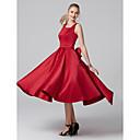 זול ספלים וכוסות-גזרת A צווארון מרובע באורך הקרסול סאטן מסיבת קוקטייל שמלה עם פפיון(ים) / קפלים על ידי TS Couture®