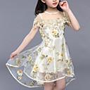 זול שמלות לבנות-שמלה פוליאסטר קיץ שרוולים קצרים Party יומי פרחוני טלאים הילדה של יום יומי סגנון רחוב פול סגול צהוב