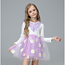 tanie Sukienki dla dziewczynek-Dzieci Dla dziewczynek Podstawowy Święto Solidne kolory / Kwiaty Długi rękaw Sukienka / Bawełna / Śłodkie