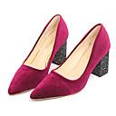 זול נעלי עקב לנשים-בגדי ריקוד נשים נעליים PU אביב נוחות עקבים עקב עבה בוהן מחודדת שחור / בורדו