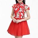 זול שמלות לבנות-שמלה שרוולים קצרים פרחוני פשוט / בסיסי בנות ילדים / חמוד