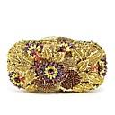 זול תיקי ערב וקלאצ'ים-בגדי ריקוד נשים שקיות זכוכית תיק ערב 5 Pcs ערכת ארנק פרח פול / זהב