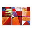 tanie Obrazy olejne-Hang-Malowane obraz olejny Ręcznie malowane - Abstrakcja Nowoczesne Nowoczesny Naciągnięte płótka / Trzy panele / Rozciągnięte płótno