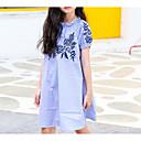זול שמלות לבנות-שמלה שרוולים קצרים פסים חגים פשוט בנות ילדים / כותנה