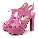 abordables Zapatos de Boda-Mujer Zapatos Cuero Nobuck Primavera / Verano Confort / Innovador Sandalias Tacón Cuadrado Punta abierta Hebilla Amarillo / Verde / Rosa