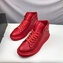 זול נעלי בד ומוקסינים לגברים-בגדי ריקוד גברים PU אביב / סתיו נוחות נעלי ספורט לבן / אדום