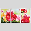 tanie Obrazy olejne-Hang-Malowane obraz olejny Ręcznie malowane - Kwiatowy / Roślinny Nowoczesny Brezentowy / Trzy panele / Rozciągnięte płótno