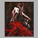 tanie Obrazy olejne-Hang-Malowane obraz olejny Ręcznie malowane - Abstrakcja / Ludzie Nowoczesny Brezentowy / Zwijane płótno