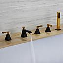 halpa Ammehanat-Ammehana - Nykyaikainen Ti-PVD / Maalatut maalit Kolmiosainen Messinkiventtiili Bath Shower Mixer Taps / Kolme kahvat viisi reikää