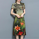 billige Festudstyr-Dame Kineseri Løstsiddende Kjole - Blomstret Midi