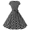 cheap Wedding Wraps-Women's Polka Dot Daily Basic Puff Sleeve Sheath Dress - Polka Dot Print Spring White Black Navy Blue L XL XXL