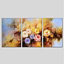 tanie Pejzaże-Hang-Malowane obraz olejny Ręcznie malowane - Kwiatowy / Roślinny Nowoczesny Naciągnięte płótka / Trzy panele / Rozciągnięte płótno