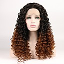 cheap Synthetic Capless Wigs-Synthetic Lace Front Wig Curly Blonde Layered Haircut Synthetic Hair Middle Part Black / Blonde Wig Women's Short Lace Front