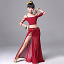ราคาถูก ชุดเต้น Ballroom-ชุดเต้นระบำหน้าท้อง Outfits การฝึกอบรม เส้นใยสังเคราะห์ ผ่า เสื้อไม่มีแขน ปรับตัวลดลง กระโปรง / Top