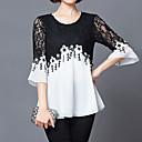 cheap Rings-Women's Holiday Street chic Plus Size Loose Blouse - Color Block Black & White, Lace
