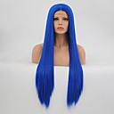 halpa Synteettiset peruukit verkolla-Synteettiset pitsireunan peruukit Suora Kerroksittainen leikkaus Synteettiset hiukset Heat Resistant Sininen Peruukki Naisten Pitkä Lace Front / Kyllä