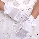 cheap Party Gloves-Stretch Satin Wrist Length Glove Bridal Gloves With Butterfly