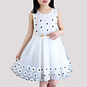 cheap Girls' Dresses-Girl's Birthday Daily Polka Dot Floral Patchwork Dress, Cotton Polyester Sleeveless Princess Street chic White Blushing Pink Gray Yellow
