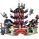 baratos Blocos de Montar-Ninja Temple DIY Blocos de Construir 737pcs Arquitetura Interação pai-filho / Requintado Desenho Dom