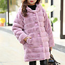 cheap Girls' Jackets & Coats-Girls' Solid Down & Cotton Padded, Cotton Winter Long Sleeves Blushing Pink Gray