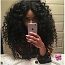 tanie Dopinki w naturalnych kolorach-Włosy naturalne remy Siateczka z przodu Peruka Włosy brazylijskie Curly Czarny Peruka Fryzura cieniowana 180% Gęstość włosów z Baby Hair Peruka afroamerykańska Bielone Węzły Czarny Damskie Krótkie
