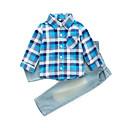 זול סטים של ביגוד לבנים-בנים יומי משובץ סט של בגדים, כותנה חוטי זהורית אביב סתיו שרוול ארוך בסיסי פול אודם