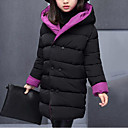 cheap Girls' Jackets & Coats-Girls' Patchwork Down & Cotton Padded, Polyester Winter Fall Long Sleeves Green Purple Yellow