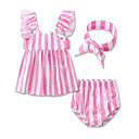 cheap Baby Girls' Clothing Sets-Baby Girls' Daily Sports Beach Striped One-Pieces, Cotton Summer Stripes Sleeveless Black Blushing Pink