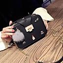 رخيصةأون حقائب الكتف-للمرأة أكياس PU حقيبة الكتف ريش فرو أسود / رمادي