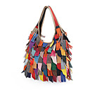 cheap Totes-Women's Bags Genuine Leather Tote Tassel Black / Rainbow