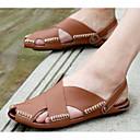 tanie Sandały męskie-Męskie Komfortowe buty Skóra bydlęca Lato Sandały Czarny / Beżowy / brązowy