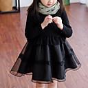 זול סטים של ביגוד לבנות-שמלה חוטי זהורית פוליאסטר אביב סתיו שרוול ארוך אחיד טלאים הילדה של קפלים שחור
