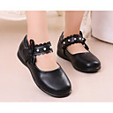 cheap Women's Flats-Girls' Shoes PU Spring / Fall Comfort / Tiny Heels for Teens Heels for White / Black / Pink