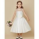 hesapli Pencere Perdeleri-A-Şekilli Taşlı Yaka Diz Boyu Tafta Kurdeleler / Çiçekli ile Çiçekçi Kız Elbisesi tarafından LAN TING BRIDE®
