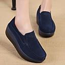 baratos Mocassins Femininos-Mulheres Sapatos Pele Primavera Conforto Mocassins e Slip-Ons Creepers Ponta Redonda Azul Escuro / Cinzento / Vermelho