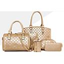 preiswerte Taschensets-Damen Taschen Andere Lederart Bag Set 6 Stück Geldbörse Set Knöpfe Gold / Schwarz / Fuchsia