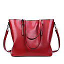cheap Totes-Women's Bags PU Leather Tote Zipper Red / Brown / Khaki