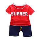 ieftine Seturi Îmbrăcăminte Băieți-Copil Băieți De Bază Mată Manșon scurt Bumbac Set Îmbrăcăminte