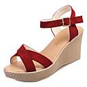 baratos Sandálias Femininas-Mulheres Sapatos Borracha Primavera Conforto Sandálias Salto Plataforma Preto / Bege / Vinho / Calcanhares