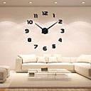 baratos Bricolage Relógios de Parede-Moderno / Contemporâneo Acryic / poliéster Aço Inoxidável Redonda Interior / Exterior,Baterias AA alimentadas AA