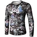 abordables Joyería para Hombre-Hombre Exagerado Algodón Camiseta, Escote Redondo Floral / Manga Larga