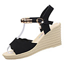 povoljno Ženske sandale-Žene Cipele PU Ljeto Udobne cipele Sandale Wedge Heel Okrugli Toe Štras Crn / Zelen / Burgundac / Poluga pete