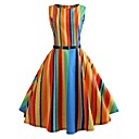 cheap Abstract Paintings-Women's Going out Vintage A Line Dress - Striped / Rainbow Print