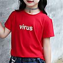 זול חולצות לבנות-טישירט כותנה קיץ חצי שרוול יומי אחיד בנות פשוט לבן אודם